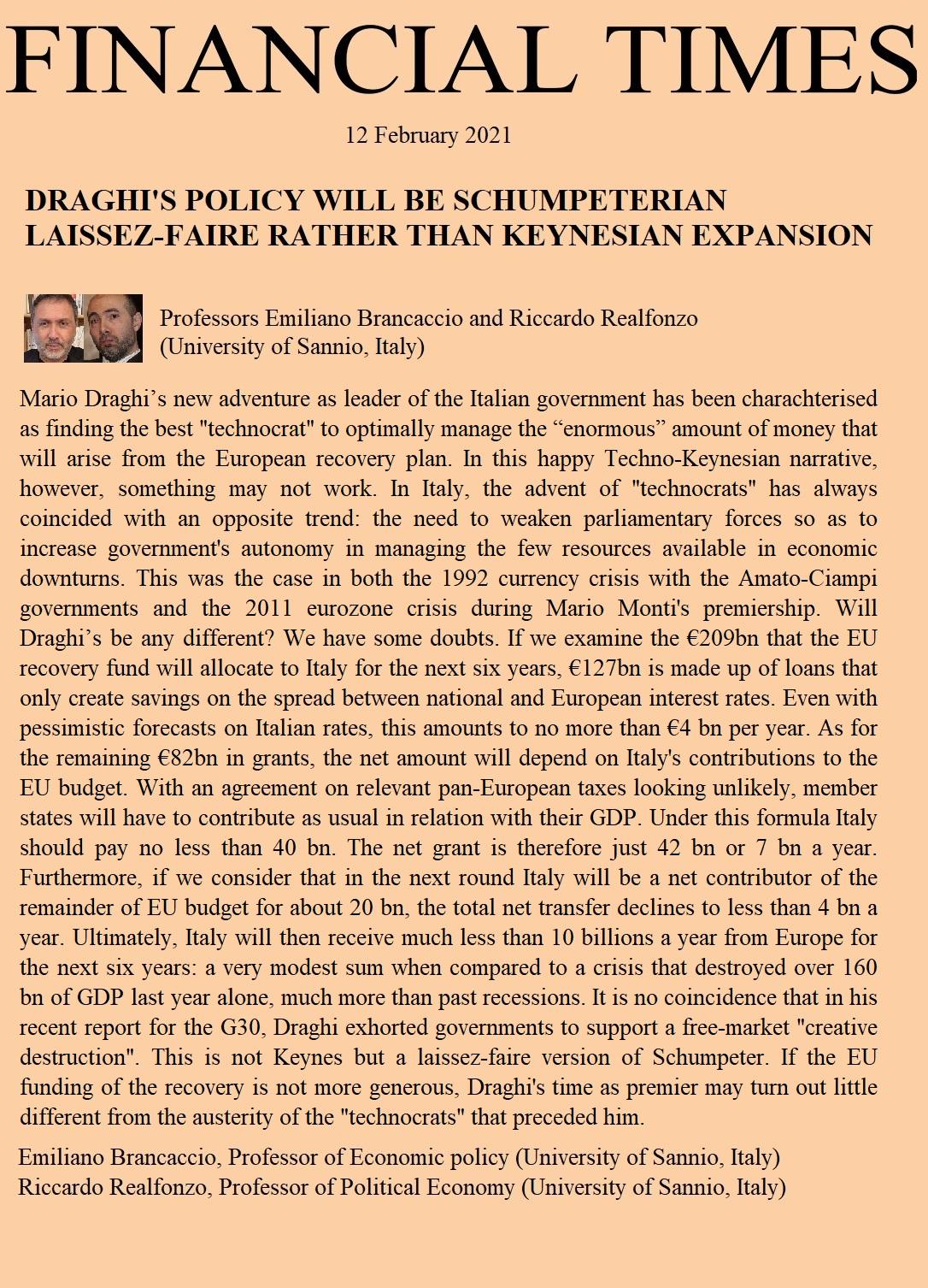 La politica di draghi: liberismo schumpeteriano piu' che espansione keynesiana