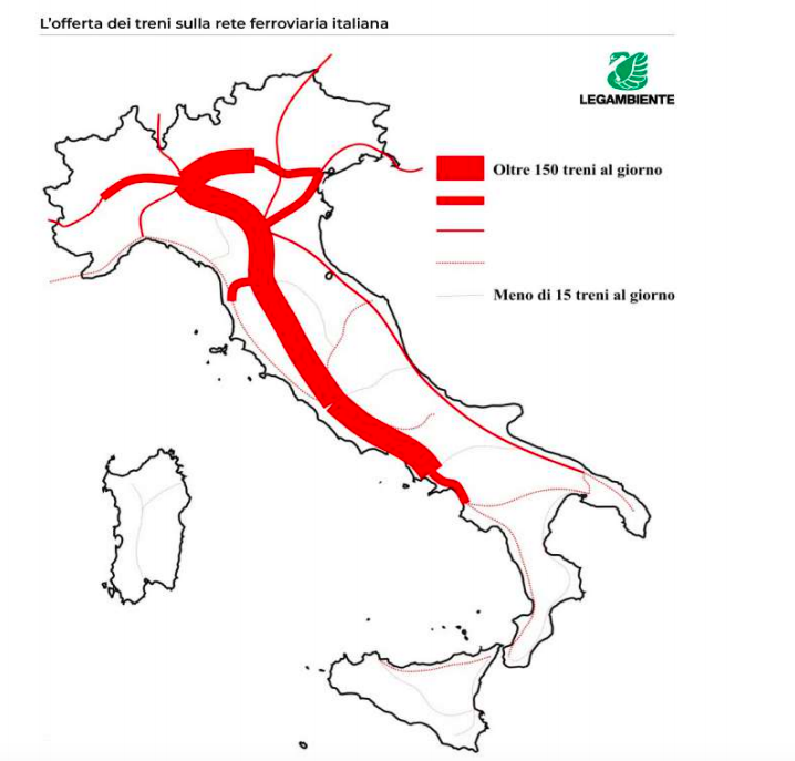 Il trasporto ferroviario in Italia nel XXI secolo: un paese sempre più diseguale