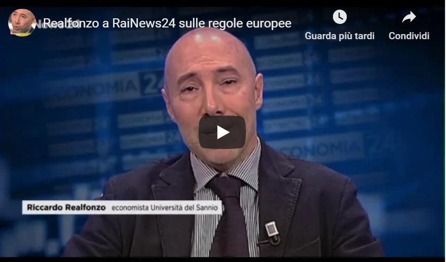 Realfonzo a RaiNews24 su regole europee e uscita dall'euro